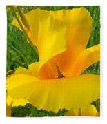 Orange Yellow Poppy Flower Art Print Fleece Blanket