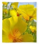 Orange Yellow Poppy Flowers Meadow Art Fleece Blanket