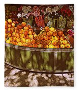 Oranges And Flowers Fleece Blanket
