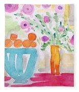 Oranges In Blue Bowl- Watercolor Painting Fleece Blanket