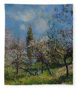 Orchard In Spring Fleece Blanket