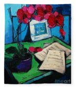 Orchid And Piano Sheets Fleece Blanket