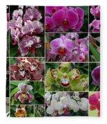 Orchid Collage 1 Fleece Blanket