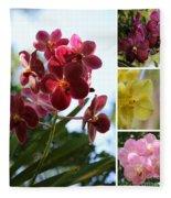 Orchid Collage Fleece Blanket