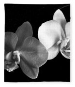 Orchid In Black And White Fleece Blanket
