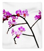 Orchid In White  Fleece Blanket