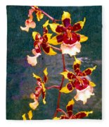 Orchid Spray By Pottery  Fleece Blanket