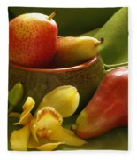 Orchid With Pears Fleece Blanket