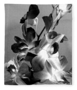 Orchids 2 Bw Fleece Blanket