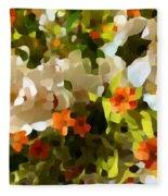 Orchids And Hydrangea Fleece Blanket