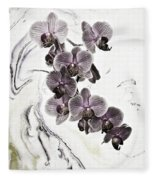 Orchids And Suminagashi Fleece Blanket
