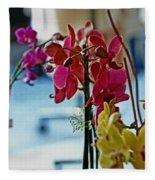 Orchids In A Window Fleece Blanket