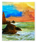 Oregon Coast At Sunset Fleece Blanket