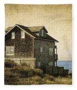 Oregon Coast Beach House Fleece Blanket