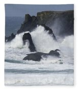 Oregon Coast Furrious Waves 1 Fleece Blanket