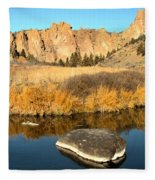 Oregon River Rock Reflections Fleece Blanket