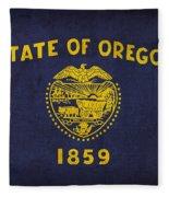 Oregon State Flag Art On Worn Canvas Fleece Blanket