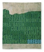Oregon Word Art State Map On Canvas Fleece Blanket by Design Turnpike