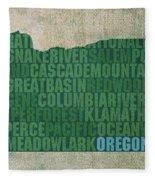 Oregon Word Art State Map On Canvas Fleece Blanket