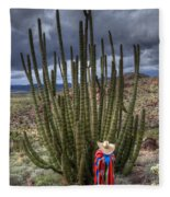 Organ Pipe Cactus The Visitor 1 Fleece Blanket