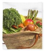 Organic Fruit And Vegetables In Shopping Bag Fleece Blanket