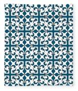 Orient Blue And White Interlude Fleece Blanket