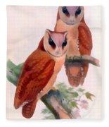 Oriental Bay Owl Fleece Blanket