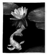 Oriental Koi Fish And Water Lily Flower Black And White Fleece Blanket