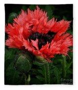 Oriental Poppy Fleece Blanket