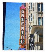 Oriental Theater With Sponge Painting Effect Fleece Blanket