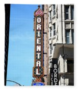 Oriental Theater With Watercolor Effect Fleece Blanket