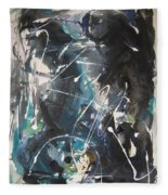 original abstract blue and black painting for sale-Blue Valley Fleece Blanket