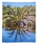 Ormond Scenic Loop Florida Palm Tree Painted  Fleece Blanket