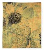 Ornamental Thistle Flower Fleece Blanket