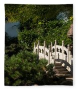 Ornate White Stone Bridge  Fleece Blanket