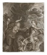 Orpheus, Leading Eurydice Out Of Hell Fleece Blanket