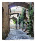 Orvieto Street With Arches Fleece Blanket