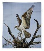 Osprey Building A New Nest Fleece Blanket
