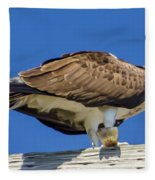 Osprey Eating Lunch Fleece Blanket