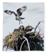Osprey In Flight Over Nest Fleece Blanket