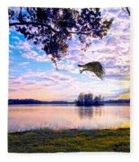 Osprey Leaving Perch Sundown Lake Fleece Blanket