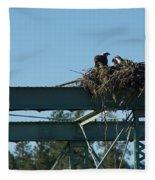 Osprey Nest With Mom And Chicks Fleece Blanket