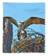 Ospreys Copulating In New Nest2 Fleece Blanket
