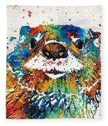 Otter Art - Ottertude - By Sharon Cummings Fleece Blanket