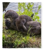 Otter Family Fun Fleece Blanket