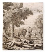 Otter Hunting By A River, Engraved Fleece Blanket