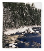 Ouareau River And Snow Covered Fleece Blanket