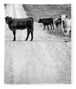Our Way Or The Highway Bw Fleece Blanket