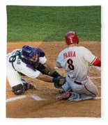 Out At The Plate Fleece Blanket