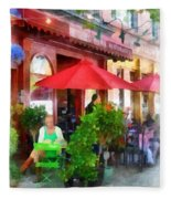Outdoor Cafe With Red Umbrellas Fleece Blanket